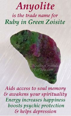 Anyolite is Ruby in Green Zoisite helps you to access soul memory & awakens your spirituality. Boosts psychic protection Enhances feelings of happiness brings positive energy. Strong heart chakra energy Helps Depression. Powerful healing crystals #Anyolite #RubyInZoisite #accesssoulmemory #aiddepression #positivefeelings #heartchakra #HealingCrystals #CrystalProperties #MeaningsandUse Crystal Healing Chart, Healing Crystals For You, Crystal Guide, Meditation Crystals, Crystal Magic, Chakra Crystals, Minerals And Gemstones, Crystals Minerals, Stones And Crystals