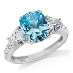 Jean Dousset Absolute 3-Stone Simulated Aquamarine Ring