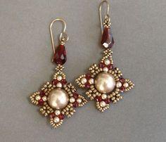 video: Sidonia's handmade jewelry - Oriental earrings Beading tutorial (pearls, seed beads, bicone crystals & crystal drop beads)