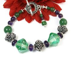 Green Lampwork Amethyst Bracelet Bali Style Beads and Toggle Clasp Handmade Beaded Jewelry