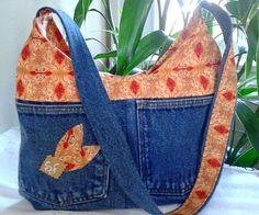Handbag made of denim and cotton printed orange color with