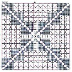 Crochet granny square: easily customisable to any size.interesting ideas for decor crochet Crochet Motif Patterns, Crochet Blocks, Granny Square Crochet Pattern, Crochet Diagram, Crochet Chart, Crochet Squares, Crochet Granny, Knitting Patterns, Crochet Cushions