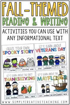 These learning books are great for Halloween, Veterans Day, and Thanksgiving in your first grade, 2nd grade, or 3rd grade classrooms. These printable books can replace boring worksheets! Students will be writing their own spooky story, facts about the first Thanksgiving and the Mayflower, and writing about appreciation for veterans on Veterans Day! These books can go with any lesson you're teaching and work great with your fall themed picture books for school!