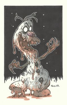 Olaf Zombie Piers Hazell uploaded by Walt Disney, Disney Horror, Zombie Disney, Disney Fun, Creepy Drawings, Dark Art Drawings, Creepy Art, Zombie Cartoon, Zombie Art