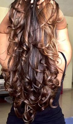 Hair cuts Hair style by Chocolate Brown Hair Color, Brown Hair Colors, Loose Hairstyles, Pretty Hairstyles, Beautiful Long Hair, Amazing Hair, Super Long Hair, Silky Hair, Dream Hair