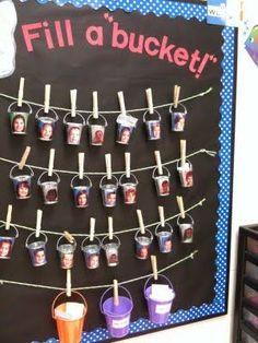 Classroom Inspiration--The bucket filling concept education-classroom-management Classroom Behavior, Classroom Environment, School Classroom, Future Classroom, Positive Work Environment, Student Behavior, Classroom Displays, Classroom Themes, Classroom Organization
