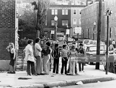 Students gather at Mercer Street and Columbia Road near a housing project in South Boston to wait for a school bus bound for McCormack Middle School at a. Get premium, high resolution news photos at Getty Images My Childhood Memories, Great Memories, Boston Neighborhoods, Mercer Street, Columbia Road, South Boston, Secret Places, Working Class, Still Image