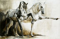 Reproductions giclées sur toile - giclée prints on canvas — Elise Genest Painted Horses, Horse Drawings, Animal Drawings, Abstract Horse Painting, Oil Pastel Colours, Horse Sketch, Horse Illustration, Horse Artwork, White Horses