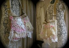 RESERVED FOR S. - Shabby n chic bag, romantic lace doily embellished, pink cremes, Thick Large