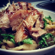Braised sweet and sour pork with hand pulled noodles