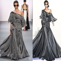 One shoulder graphic dress All Fashion, Fashion 2017, Fashion Art, Fashion Design Drawings, Fashion Sketches, Croquis Fashion, Illustration Mode, Fashion Figures, Dress Sketches