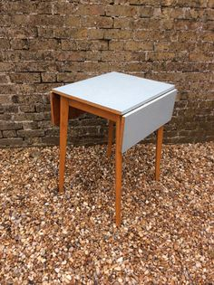 1950s blue formica and beech drop leaf by kellymariavintage