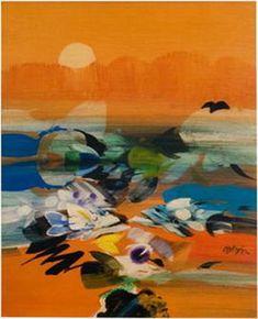 Atardecer Marino - Alejandro Obregon Art And Illustration, Colombian Art, Amazing Paintings, Art Database, Art Pictures, Art Pics, Landscape Art, American Art, Textile Art