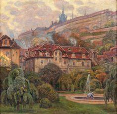 VIKTOR STRETTI Prague Castle Pohled na Hradčany z Fürstenberské zahrady, 1907