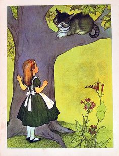 1955 Alice In Wonderland Lewis Carroll Marjorie Torrey Illustration Book Plate Alice and the Cheshire Cat