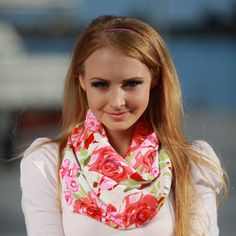 SALE Infinity Scarf Eternity Cowl Pink Red by OtiliaBoutique, $23.50