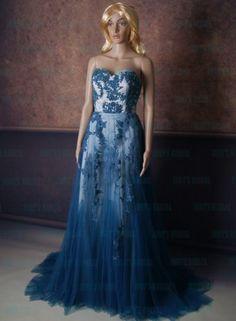 LJ167 Elegant auqa blue lace tulle skirt evening prom dress