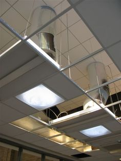 Office Tubular Skylight Kit with a suspended/drop ceiling application. Round to Square