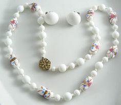 Miriam Haskell Milk Glass Wedding Cake Glass - Vintage Lane Jewelry - 1
