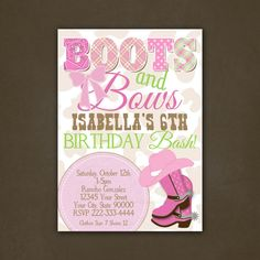 Boots and Bows Cowgirl Birthday Invitation Custom You PRINT, For Girls