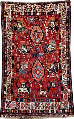 'Lion' Qashqai Gabbeh, South Persia Fars- Area, circa 1930/1940, wool/wool, approx. 199 x 125 cm