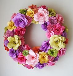 Paper Flower Spring Summer  13 Inch Wreath by SweetPeaPaperFlowers, $65.00