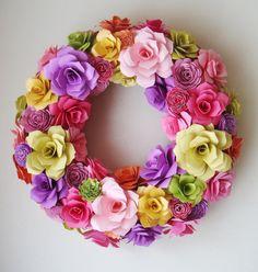 Paper Flower Spring Summer  13 Inch Wreath by SweetPeaPaperFlowers, $65.00