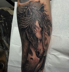 Horse tattoo by @shua_epidemic.