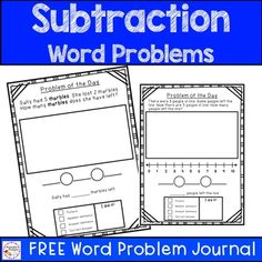 Subtraction Word Problems by PrintablePrompts | Teachers Pay Teachers First Grade Words, 1st Grade Math, Grade 1, Math Groups, He Day, Word Problems, Teaching Math, Math Centers, Teacher Pay Teachers