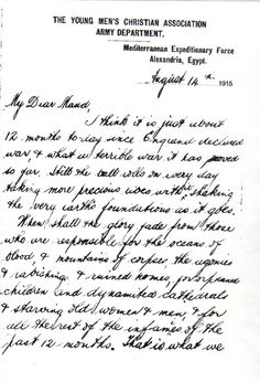 A description of the sights and sounds of Gallipoli, 1915. Andrew Anderson wrote to his sister, Maude, during in WWI. It was written just a year after the war commenced. Andrew wrote about the sights and sounds of Gallipoli as he experienced them. #Letter