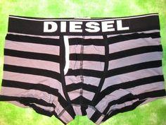 New Diesel Mens Divine Stripe Black Gray Grey Boxer Briefs Underwear Medium M | eBay