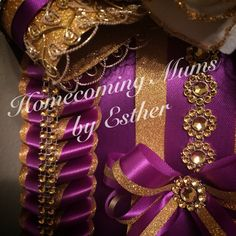 Elegant Purple and gold mum   https://www.facebook.com/Homecoming-Mums-by-Esther-273602849493591/