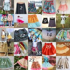 25 Girls Skirt Tutorials.... Can't wait to try some of these. :)