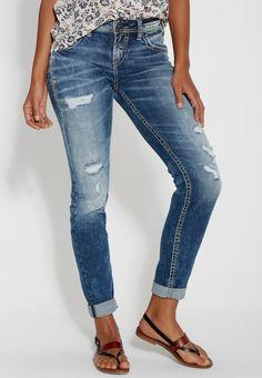 Silver Jeans Co. ® medium wash boyfriend jeans with destruction