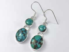 Sterling silver Tibet turquoise earrings