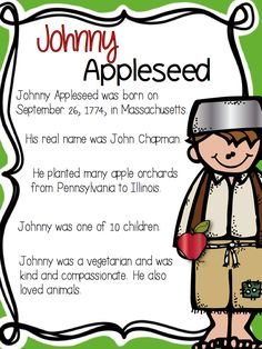 An informative poster on Johnny Appleseed
