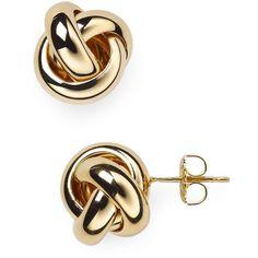 Nancy B Vermeil Love Knot Stud Earrings ($92) ❤ liked on Polyvore featuring jewelry, earrings, gold vermeil earrings, stud earrings, vermeil jewelry, love knot stud earrings and gold vermeil jewelry