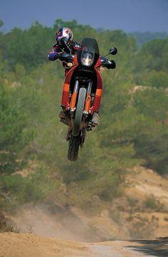 Big air on a KTM Adventure