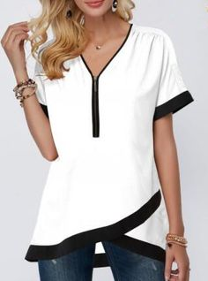 Tops For Women Contrast Piping Crossover Hem Half Zipper Blouse Trendy Tops For Women, Stylish Tops, Blouses For Women, Casual Outfits, Fashion Outfits, Fashion Clothes, Clothes Women, Trendy Fashion, Tomboy Outfits