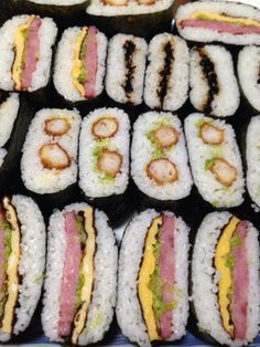 Onigirazu, Japanese Rice Sandwiches -can't read Japanese, but the pictures are super helpful Japanese Sandwich, Japanese Food Sushi, Japanese Dishes, Japanese Rice, Onigirazu, Rice Sandwich, Good Food, Yummy Food, Asian Cooking