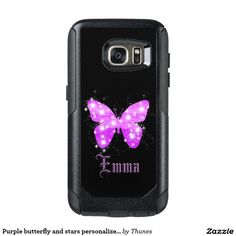 Purple butterfly and stars personalized with name OtterBox samsung galaxy s7 case