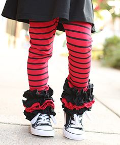 Another great find on #zulily! Sew Sassy Boutique Red & Black Stripe Icing Leggings - Infant, Toddler & Girls by Sew Sassy Boutique #zulilyfinds