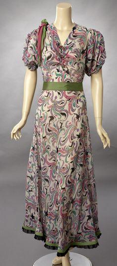 1930s Silk Georgette Dress.