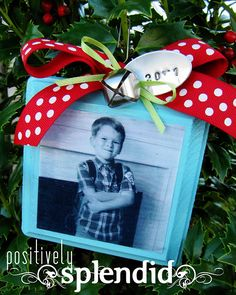 Photo Ornament with Wish List on back each year to look back on - love it! Christmas present for classroom kids? Modge podge a picture on front, possibly a wish list on back or their name, year, how old, and one item on their wish list.
