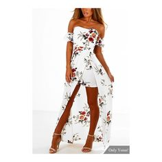 White Off Shoulder Random Floral Print Splited Dress (125 DKK) ❤ liked on Polyvore featuring dresses, off the shoulder floral dress, white off shoulder dress, floral print dress, floral party dress and white floral dress