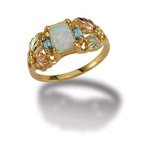 Black Hills Gold Ladies Ring with Opal and Swiss Blue Topaz