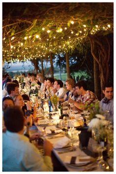 reception under rustic vine and light covered pergola <3