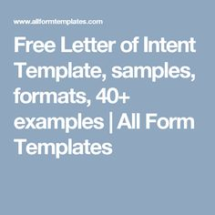 Free Letter of Intent Template, samples, formats, 40+ examples   All Form Templates