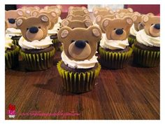 Teddy Bear cupcakes can do light blue icing or chocolate icing and blue bear...