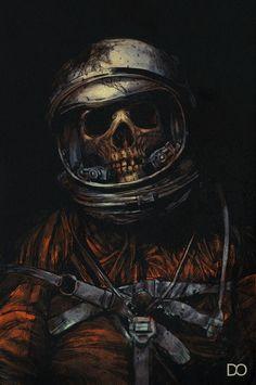 Dead Astronaut - Illustration by Digital Orgasm Arte Horror, Horror Art, Dead Space, Skull And Bones, Skeleton Bones, Grafik Design, Sci Fi Art, Skull Art, Skull Head